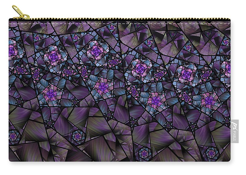 Fractal Carry-all Pouch featuring the digital art Stained Glass Floral II by Amorina Ashton