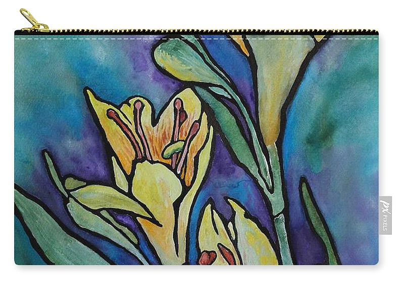 Flowers Carry-all Pouch featuring the painting Stained Glass Flowers by Ruth Kamenev