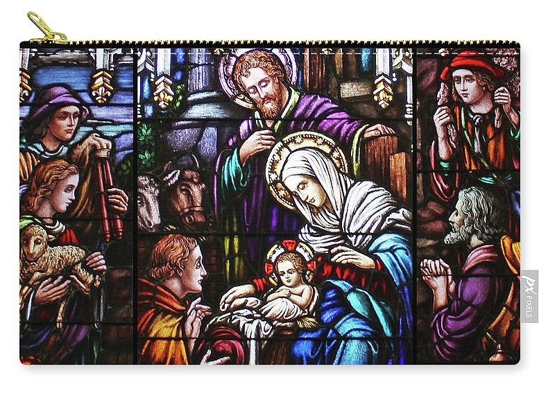 Stained Glass Carry-all Pouch featuring the painting Stained Glass Nativity Scene by Munir Alawi