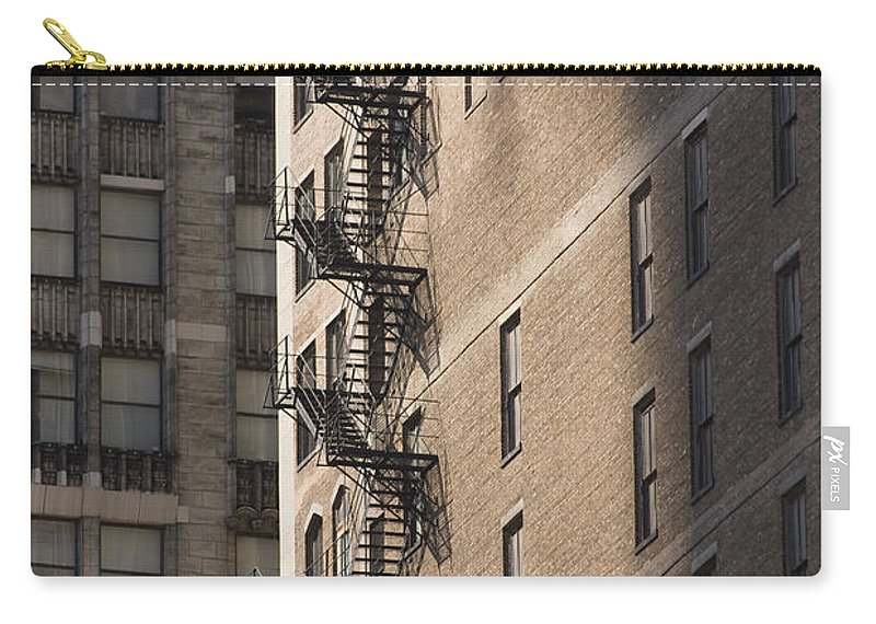 Chicago Windy City Metro Urban Building Stairs Windows Light Shaddow Carry-all Pouch featuring the photograph Stairs by Andrei Shliakhau