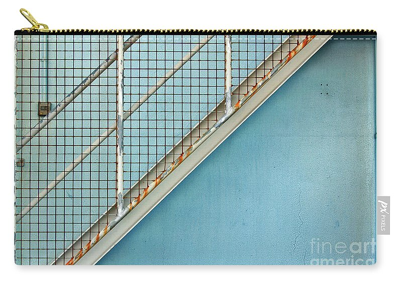Stairs Carry-all Pouch featuring the photograph Stairs On Blue Wall by Stephen Mitchell
