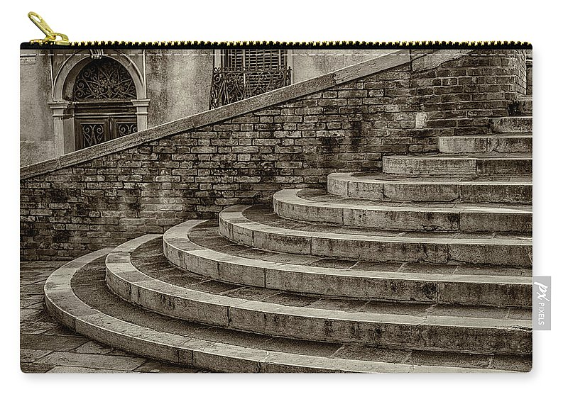 Europe Carry-all Pouch featuring the photograph Stairs To Canal Bridge Venice_dsc1637_03012017 by Greg Kluempers