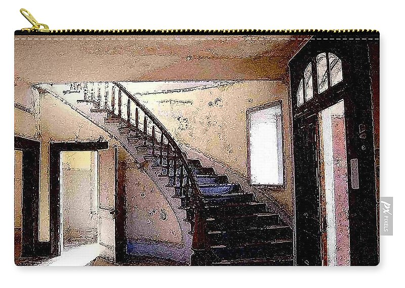 Meade Hotel Carry-all Pouch featuring the photograph Stairway - Meade Hotel - Bannack Mt by Nelson Strong