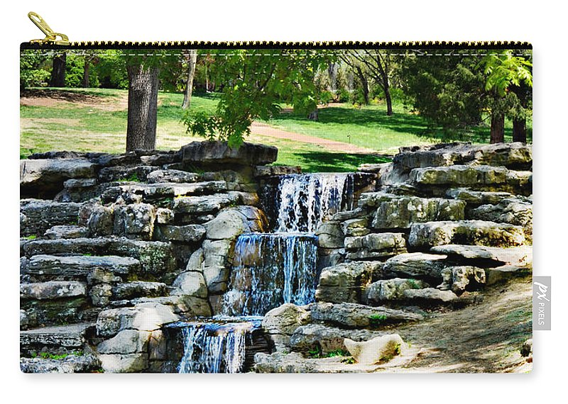 Waterfall Carry-all Pouch featuring the photograph Stairway To Water by Ally White