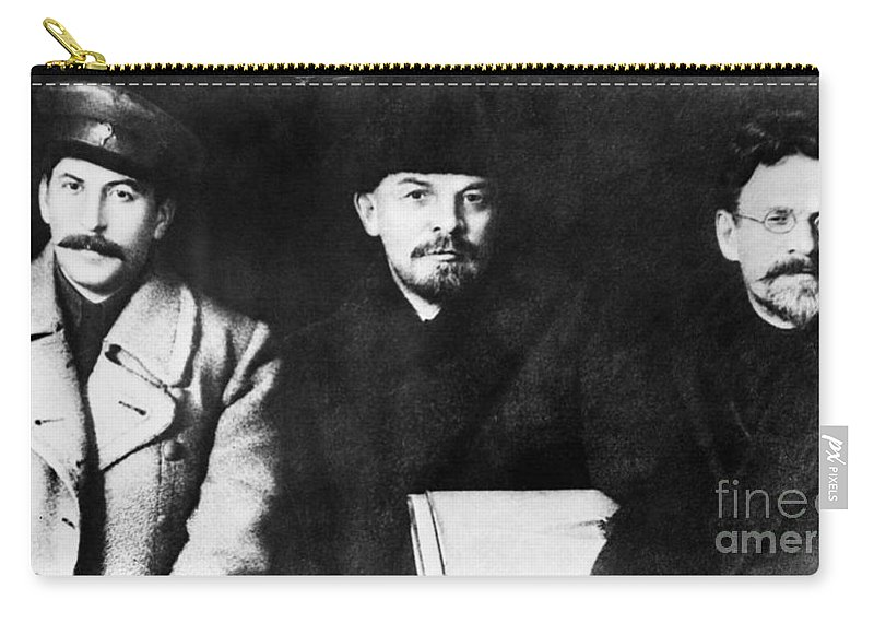 1919 Carry-all Pouch featuring the photograph Stalin, Lenin & Trotsky by Granger
