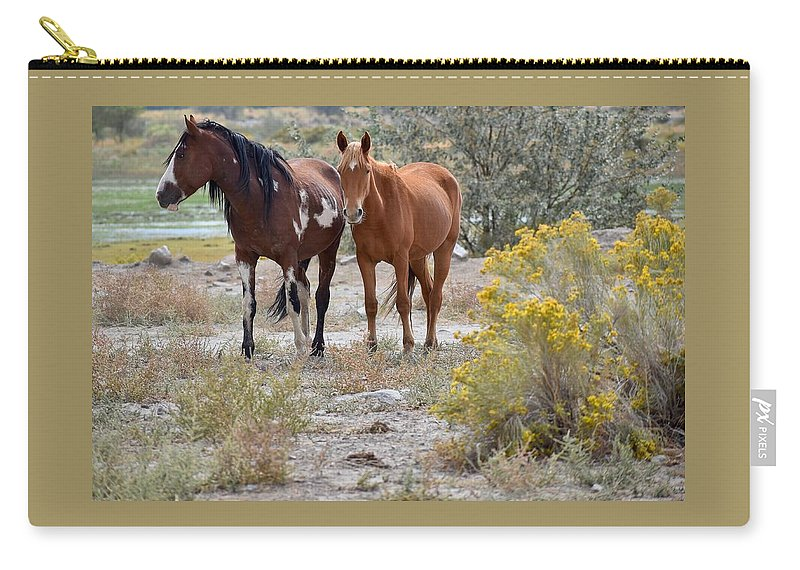 Virginia Range Mustangs Carry-all Pouch featuring the photograph Stallion And Mare by Sagittarius Viking
