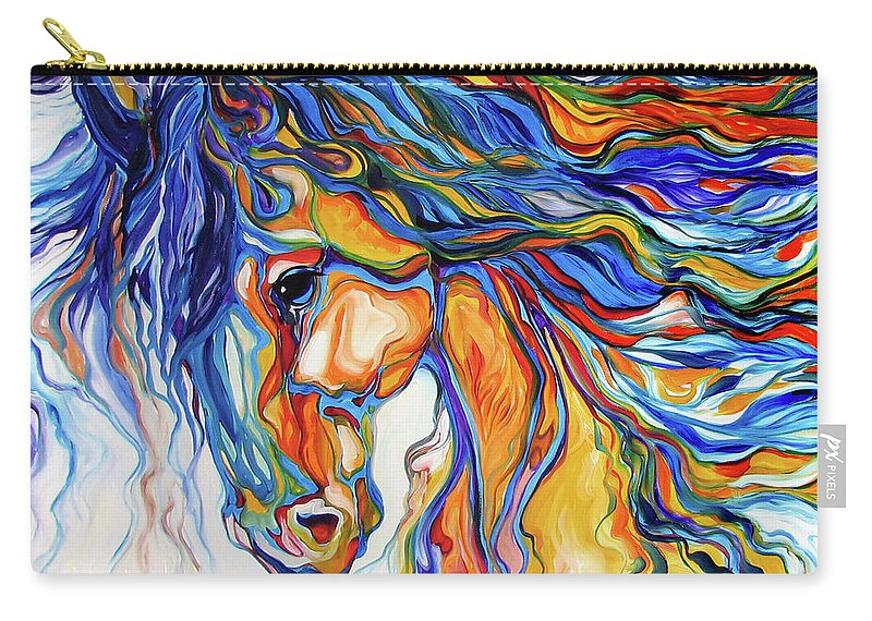 Equine Carry-all Pouch featuring the painting Stallion Southwest By M Baldwin by Marcia Baldwin