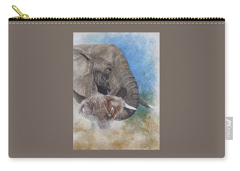 Elephant Carry-all Pouch featuring the mixed media Stalwart by Barbara Keith