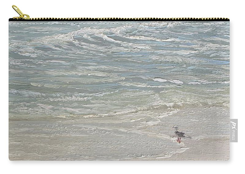 Seascape Carry-all Pouch featuring the painting Standing by the Ocean Door by Lea Novak