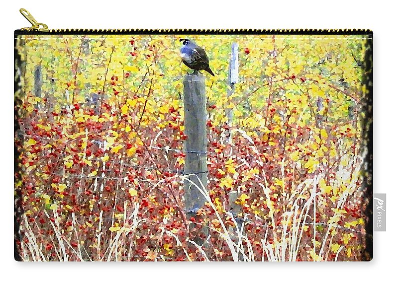 Quail Carry-all Pouch featuring the digital art Standing Guard by Will Borden