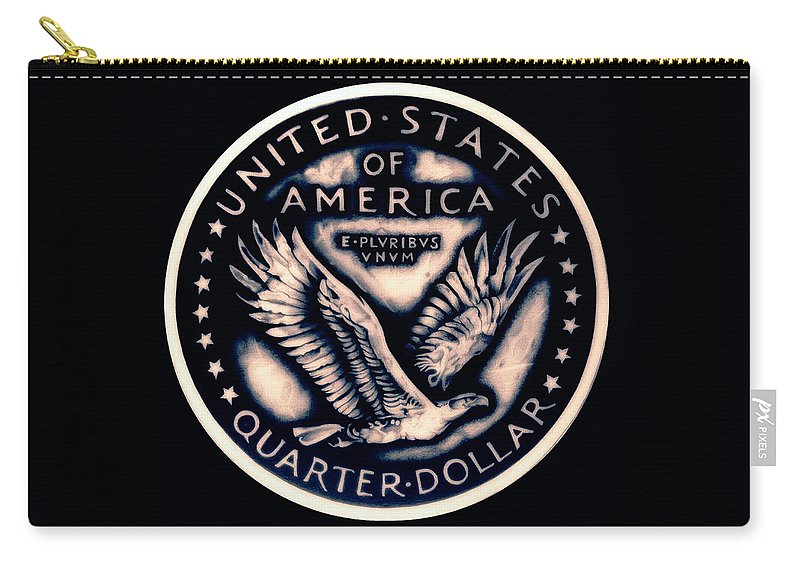 Coin Carry-all Pouch featuring the drawing Standing Liberty Reverse by Fred Larucci
