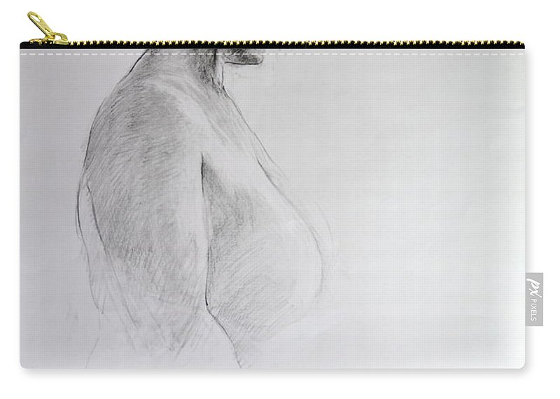 Life Carry-all Pouch featuring the drawing Standing Nude by Harry Robertson