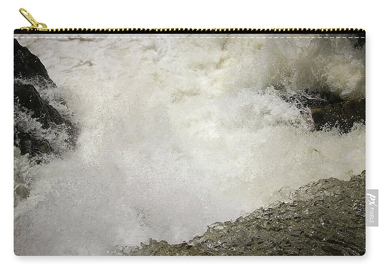 Waterfall Carry-all Pouch featuring the photograph Standing On A Waterfall by Trance Blackman