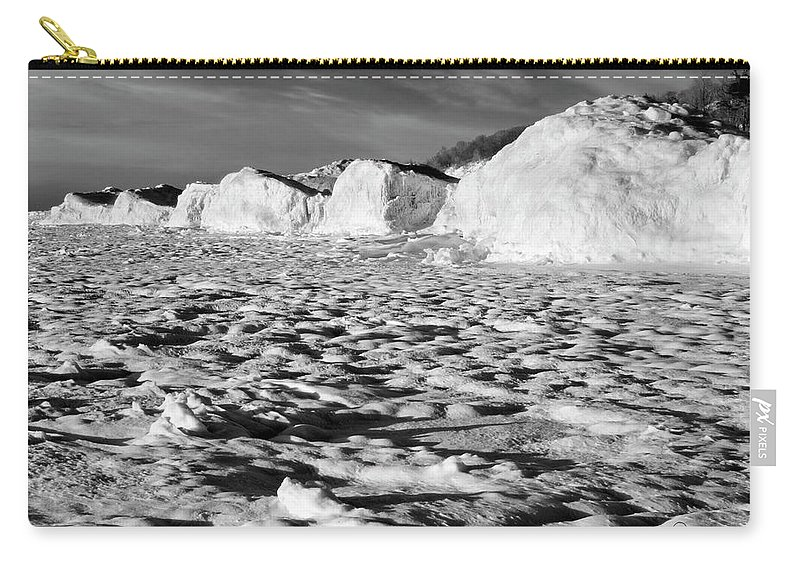 Photography Carry-all Pouch featuring the photograph Standing On Lake Michigan Ice by Frederic A Reinecke