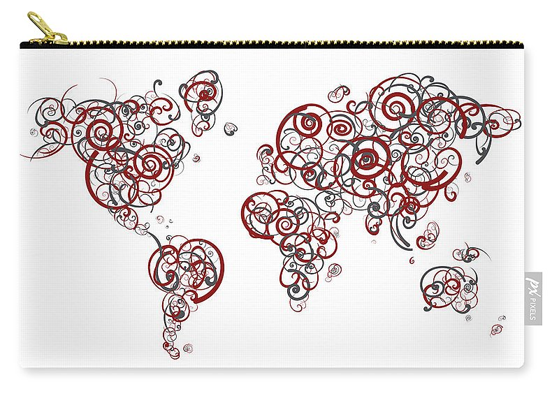 Globe Carry-all Pouch featuring the digital art Stanford University Colors Swirl Map Of The World Atlas by Jurq Studio