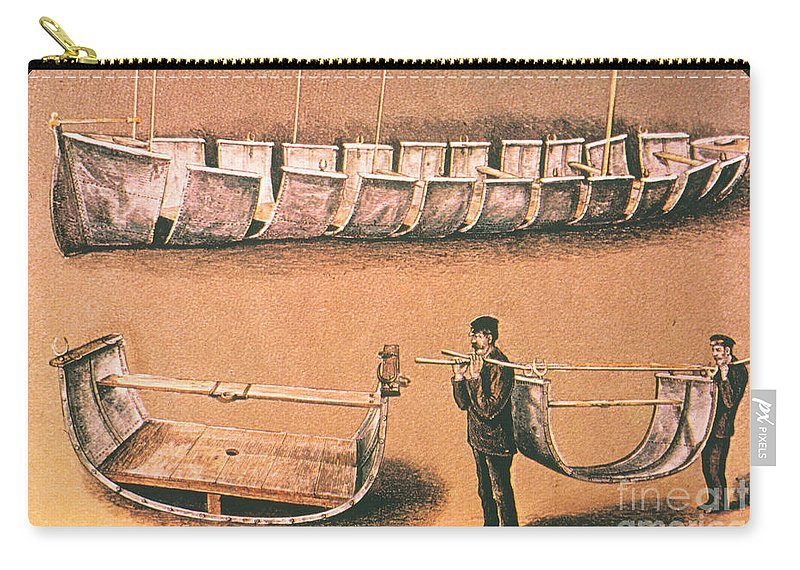 1874 Carry-all Pouch featuring the painting Stanleys Portable Boat by Granger