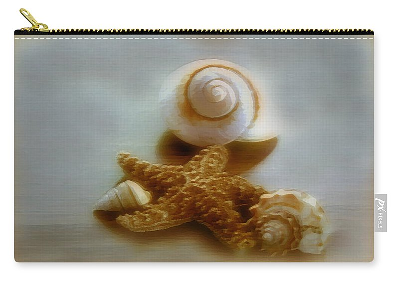 Beach Art Carry-all Pouch featuring the photograph Star And Shells by Linda Sannuti
