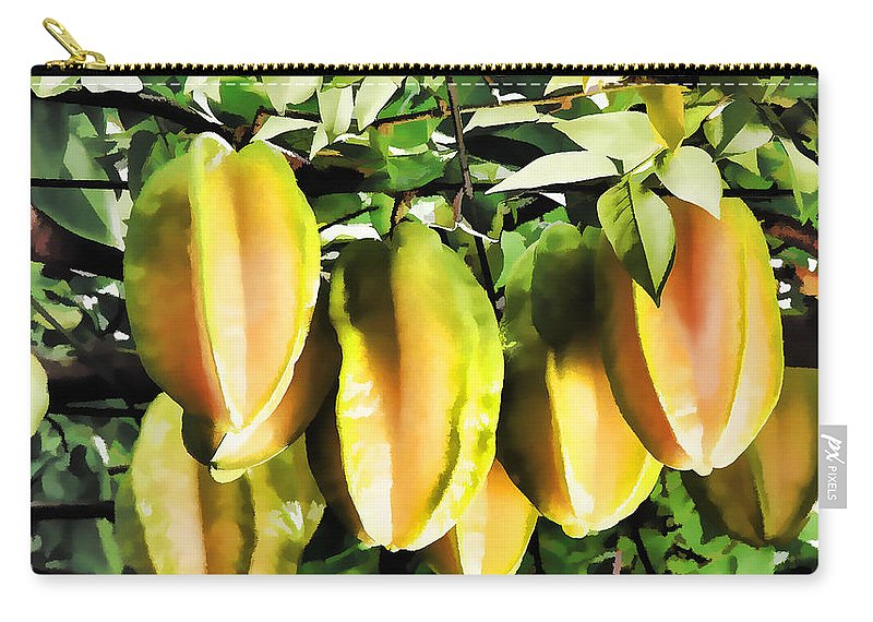 Star Apple Fruit On The Tree Carry-all Pouch featuring the painting Star Apple Fruit On Tree by Jeelan Clark