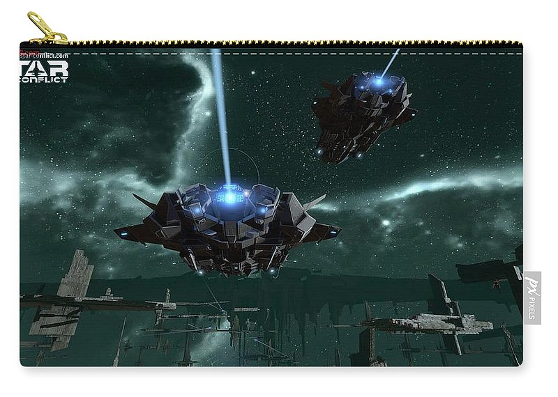 Star Conflict Carry-all Pouch featuring the digital art Star Conflict by Maye Loeser