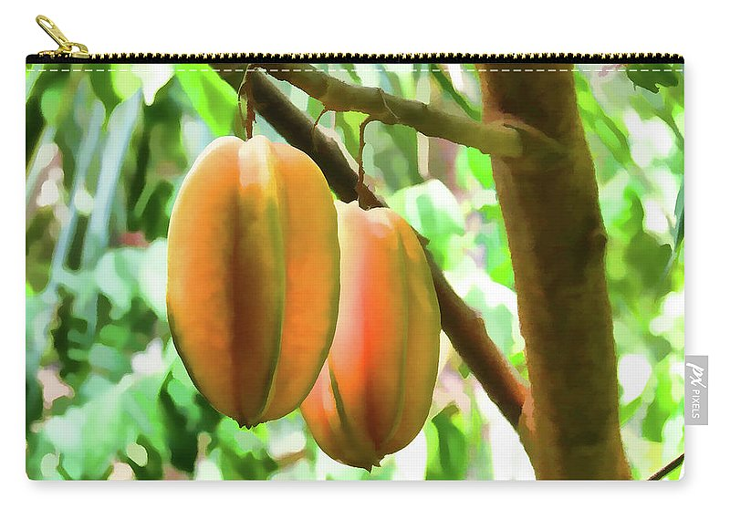 Star Apple Fruit On The Tree Carry-all Pouch featuring the painting Star Fruit On The Tree by Jeelan Clark