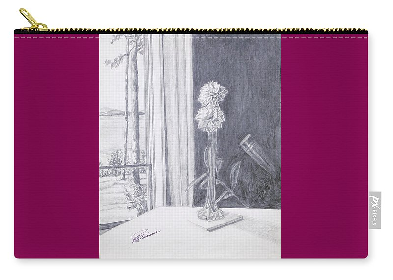 Flowers Carry-all Pouch featuring the drawing Star Gazing by Elly Potamianos