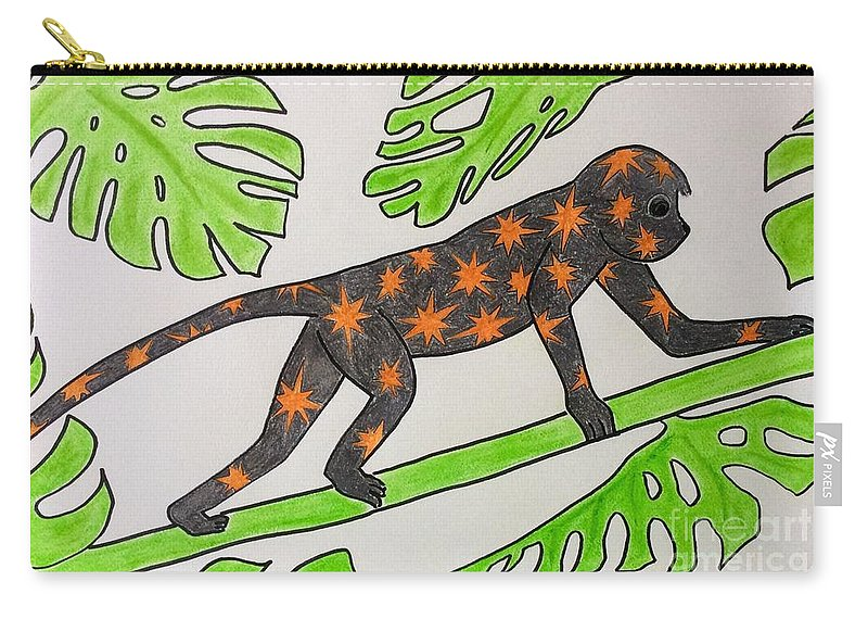 Monkey Carry-all Pouch featuring the pastel Star. Monkey by Natalia Wallwork