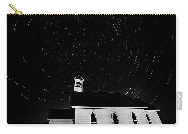 Old Carry-all Pouch featuring the digital art Star Tracks Over Saint Columba Anglican Country Church by Mark Duffy
