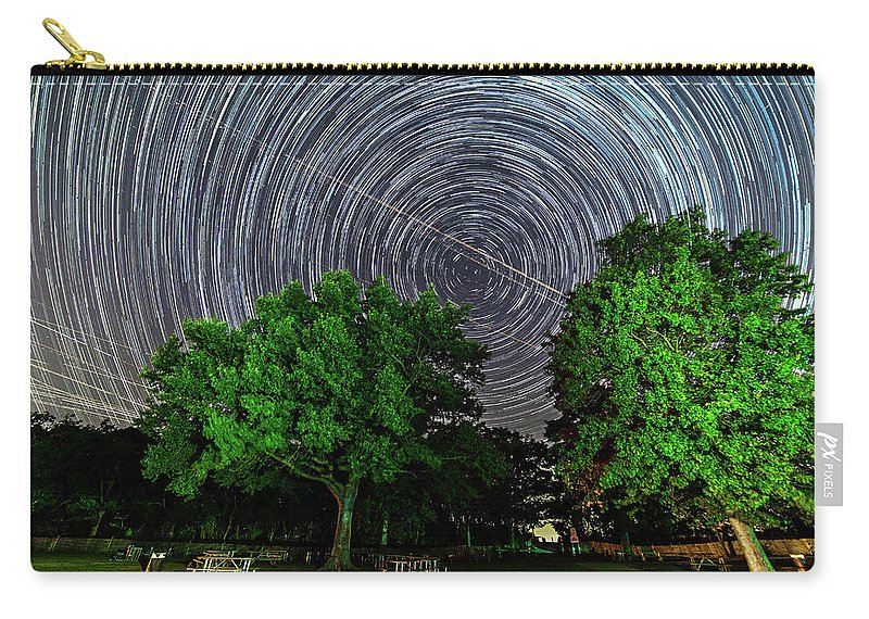 Astronomy Carry-all Pouch featuring the photograph Star Trails At Sunken Meadow State Park by Justin Starr