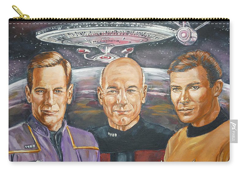 Star Trek Carry-all Pouch featuring the painting Star Trek Tribute Enterprise Captains by Bryan Bustard