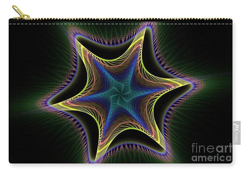 Apophysis Carry-all Pouch featuring the digital art Star Twist Spiral by Deborah Benoit