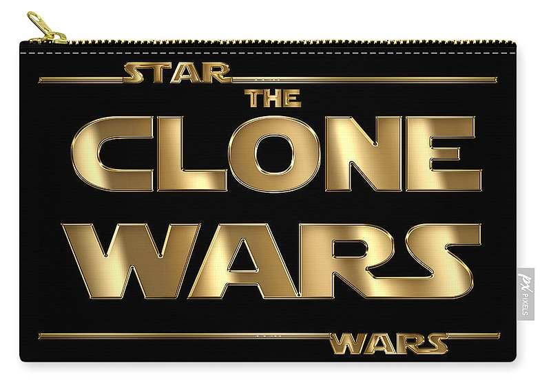 Star Wars Script Design Carry-all Pouch featuring the painting Star Wars The Clone Wars Typography by Georgeta Blanaru