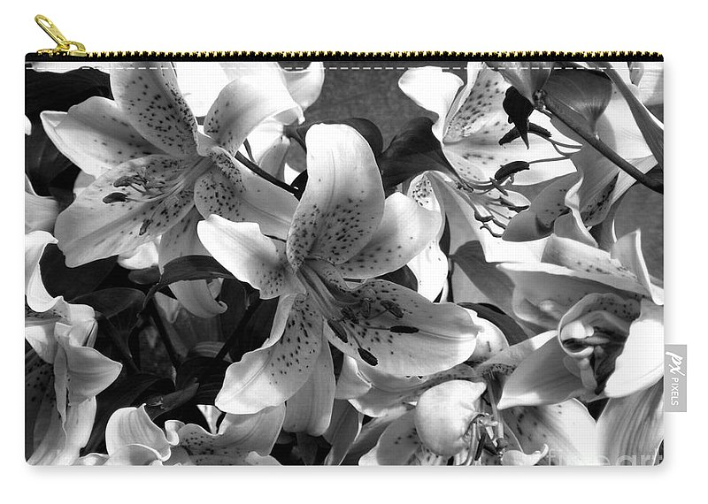 Black And White Photography Carry-all Pouch featuring the photograph Stargazer Lilies Bw by Barbara Griffin