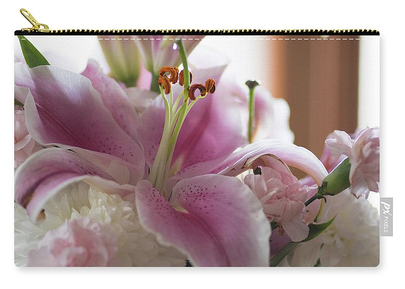 Stargazer Carry-all Pouch featuring the photograph Stargazer Oriental Lilly by Kathy Gallow