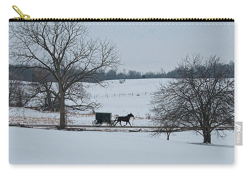 Winter Carry-all Pouch featuring the photograph Stark Winter Buggy by David Arment