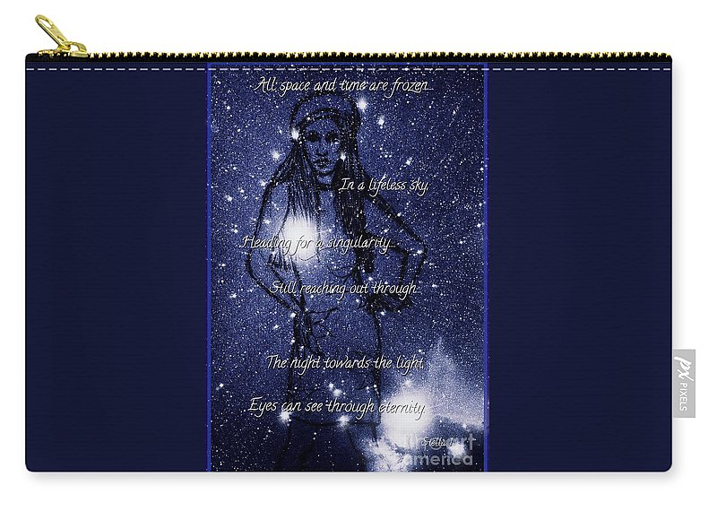 Space And Time Carry-all Pouch featuring the mixed media Starlight In Space And Time 5 by Joan-Violet Stretch