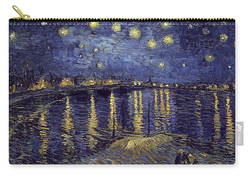 Vincent Van Gogh Carry-all Pouch featuring the painting Starry Night Over The Rhone by Van Gogh