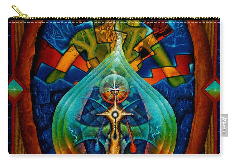 Native American Carry-all Pouch featuring the painting Starseed by Kevin Chasing Wolf Hutchins