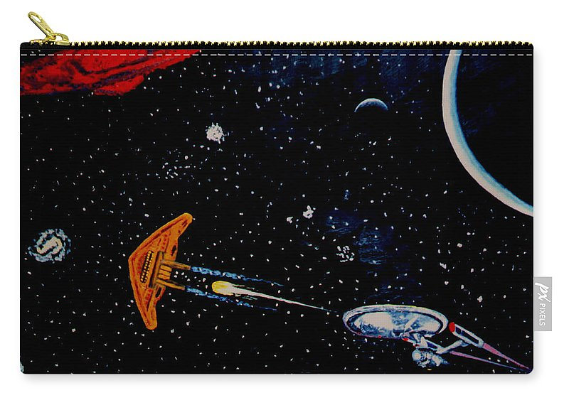 Startrel.scoemce Foxopm.s[ace.[;amets.stars Carry-all Pouch featuring the painting Startrek by Stan Hamilton