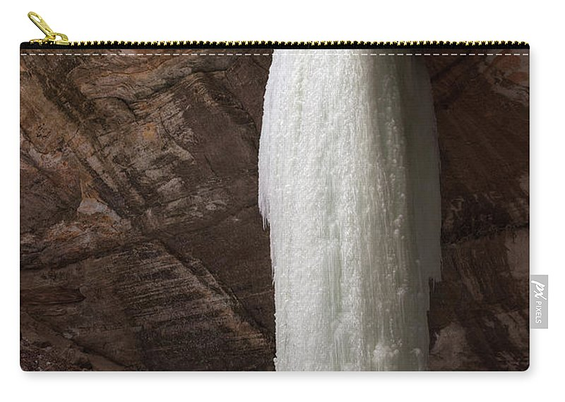 Starved Carry-all Pouch featuring the photograph Starved Rock Icefall by Steve Gadomski