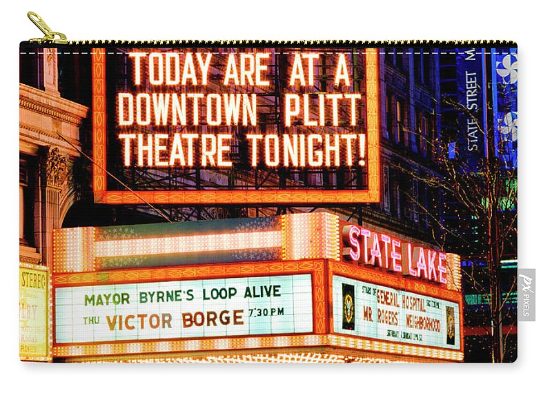 Vaudeville Carry-all Pouch featuring the photograph State-lake Theater by Tom Jelen
