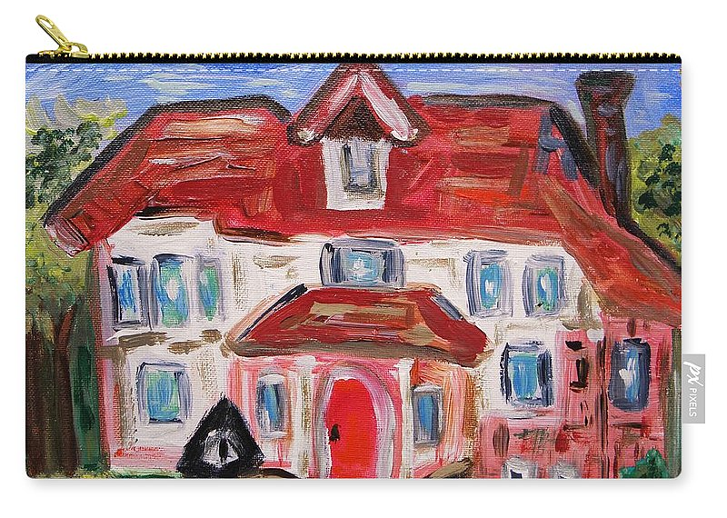 Urban Carry-all Pouch featuring the painting Stately City House by Mary Carol Williams