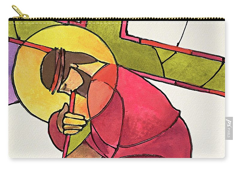 Stations Of The Cross - 03 Jesus Falls The First Time Carry-all Pouch featuring the painting Stations Of The Cross - 03 Jesus Falls The First Time - Mmjff by Br Mickey McGrath OSFS
