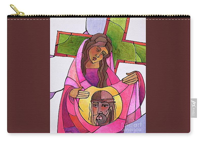 Stations Of The Cross - 06 St. Veronica Wipes The Face Of Jesus Carry-all Pouch featuring the painting Stations Of The Cross - 06 St. Veronica Wipes The Face Of Jesus - Mmvew by Br Mickey McGrath OSFS