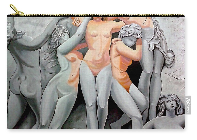 Statue Women Carry-all Pouch featuring the painting Statue 3 by Jose Manuel Abraham