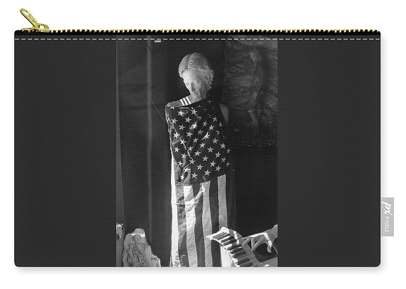 Statue In Window Downtown Tucson Arizona Carry-all Pouch featuring the photograph Statue In Window Downtown Tucson Arizona by David Lee Guss