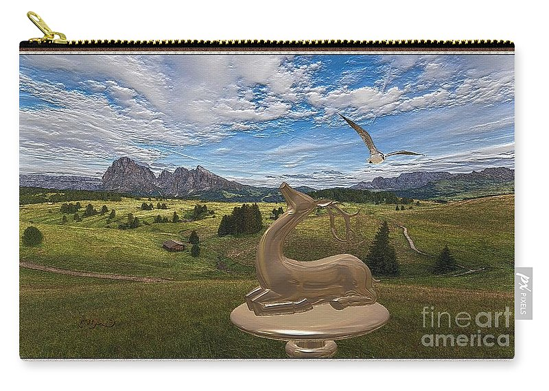 Modern Painting Carry-all Pouch featuring the mixed media Statue Of Deer 3 by Pemaro