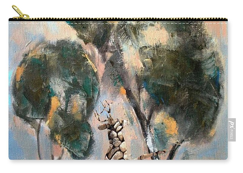 Modern Painting Carry-all Pouch featuring the mixed media Statue Of Deer 6 by Pemaro