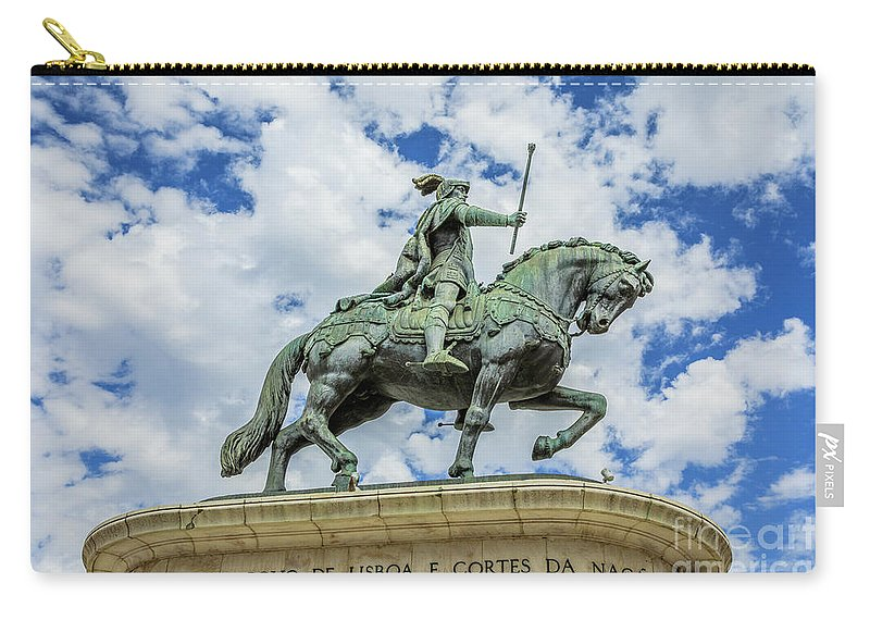 Lisbon Carry-all Pouch featuring the photograph Statue Of King John I Lisbon by Benny Marty