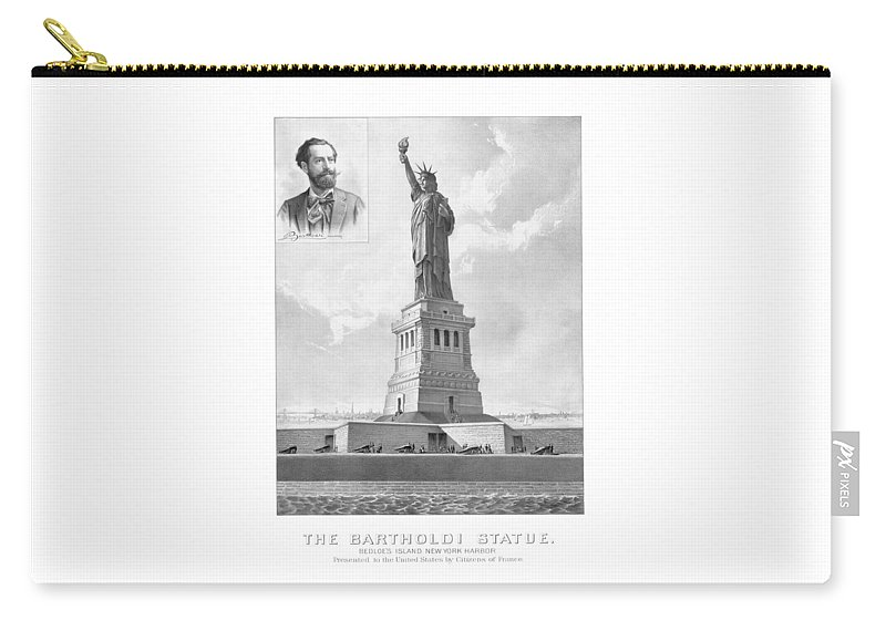 Architecture Carry-all Pouch featuring the drawing Statue Of Liberty And Bartholdi Portrait by War Is Hell Store