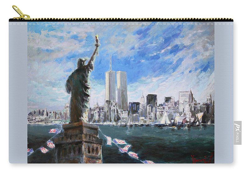 Landscape Carry-all Pouch featuring the painting Statue Of Liberty And Tween Towers by Ylli Haruni